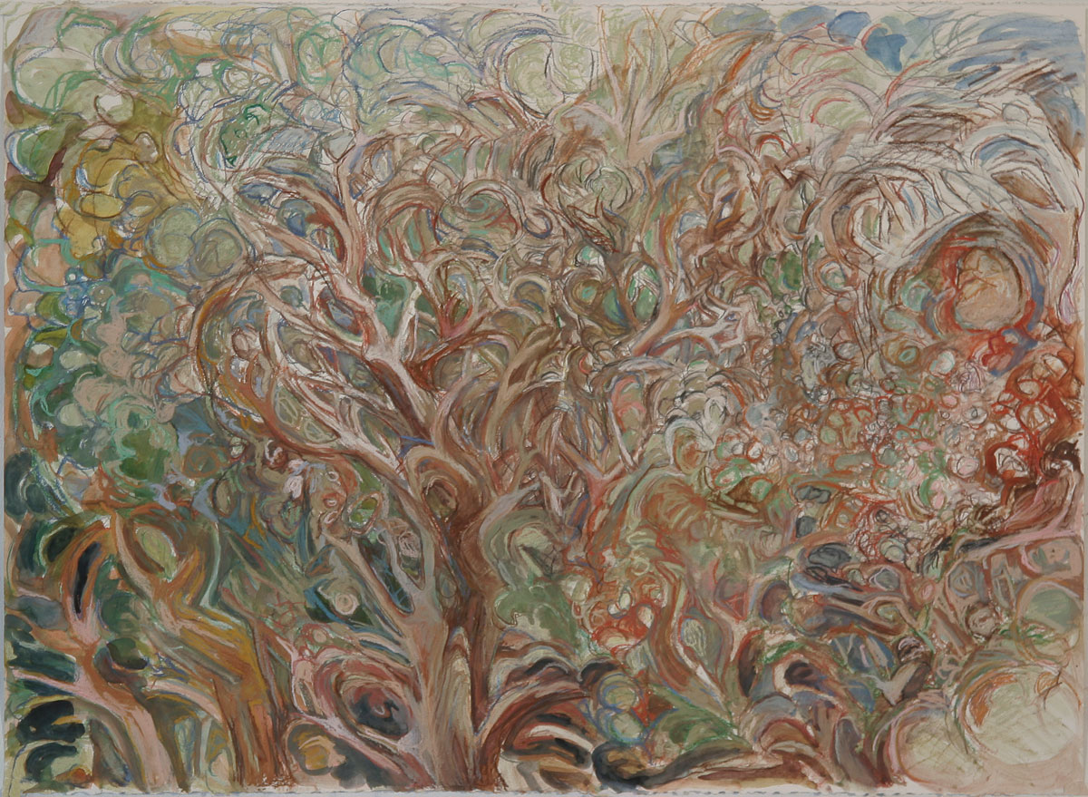 Dancing Trees, Pastel and Watercolor on Buff Paper, 22 x 30